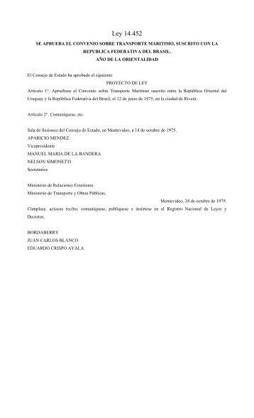 Convenio sobre Transporte Maritimo, Suscrito con la Republica ...