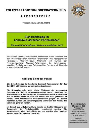 Pressebericht Landkreis Garmisch-Partenkirchen - Polizei Bayern