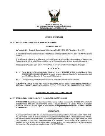 ORDEN GENERAL No. 067 DEL COMANDO GENERAL DE LA ...