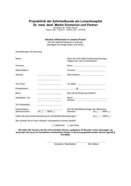 Praxisklinik der Zahnheilkunde am Luisenhospital Dr. med. dent ...