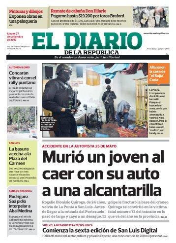Murió un joven al caer con su auto a una alcantarilla - El Diario de la ...