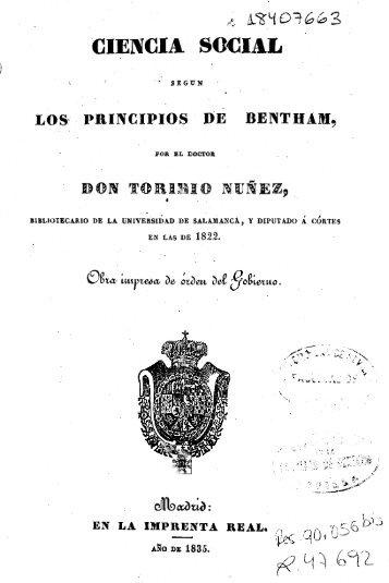 Ciencia social según los principios de Bentham / por Toribio Nuñez