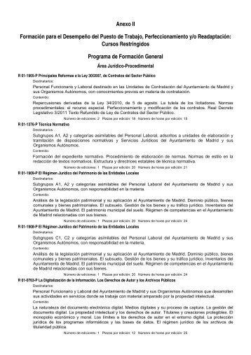 Anexo II Formación para el Desempeño del Puesto de ... - CGT