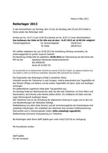 """Reiterlager 2013 - Reit- und Fahrverein """"Wehrkirch"""" Horka eV"""