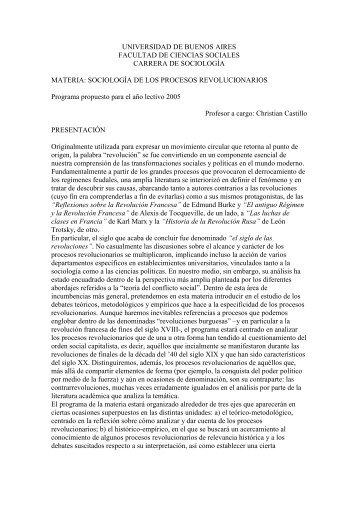 Sociología de los procesos revolucionarios - carrera de sociología ...