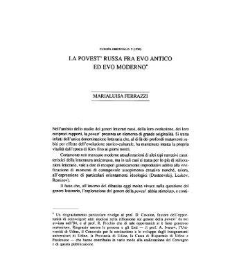 LA POVEST' RUSSA FRA EVO ANTICO ED EVO ... - Europa Orientalis