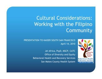 Cultural Considerations: Working with the Filipino Community