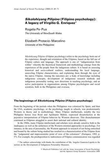 understanding filipino psychology a thought paper essay The history of psychology and its major theorists 7 major schools of thought in psychology understanding cathexis and anticathexis and freud's theory of drives.