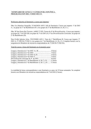 SEMINARIO DE LENGUA Y LITERATURA ESPAÑOLA