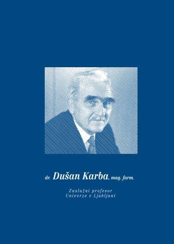 dr. Du{an Karba, mag. farm. - Fakulteta za farmacijo - Univerza v ...