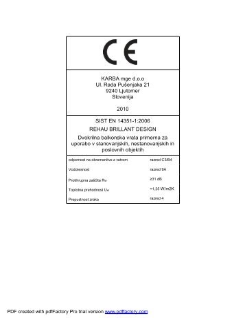 CE Certifikati za PVC okna REHAU BRILLIANT ... - KARBA mge