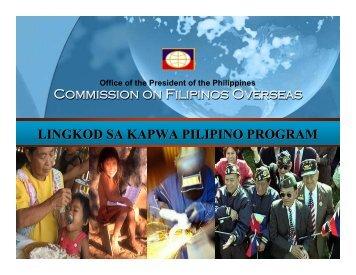 Commission on Filipinos Overseas LINGKOD SA KAPWA PILIPINO ...