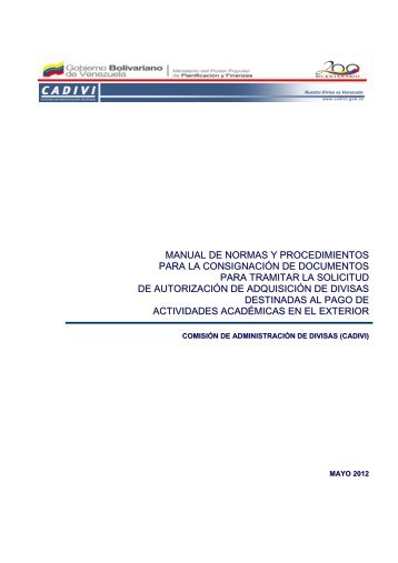 Manual de Normas y Procedimientos para la Consignación - Cadivi