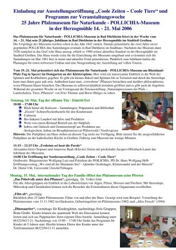 Programm zur Veranstaltungswoche - Pfalzmuseum für Naturkunde