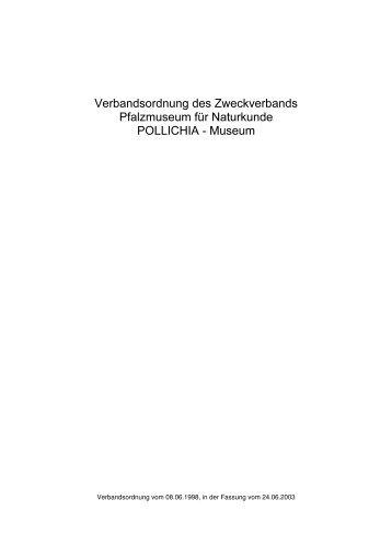 Satzung des Zweckverbandes Pfalzmuseum für Naturkunde