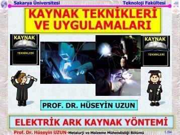 ELEKTRİK ARK KAYNAK YÖNTEMİ - Sakarya Üniversitesi