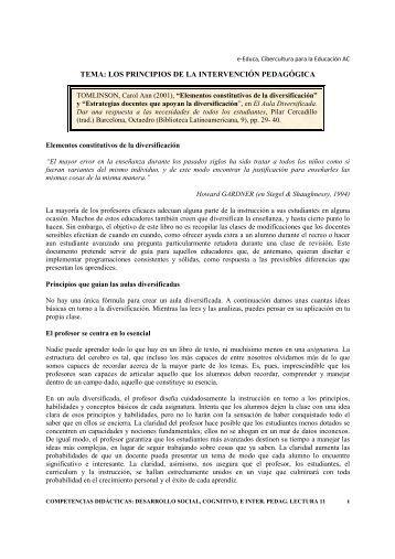Elementos constitutivos de la diversificación - e-Educa