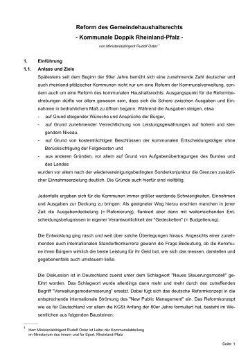 Reform des Gemeindehaushaltsrechts - Doppik in Rheinland-Pfalz