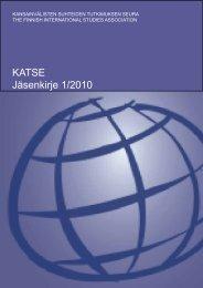 KATSE Jäsenkirje 1/2010 - Kansainvälisten suhteiden tutkimuksen ...