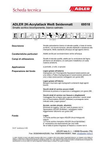 ADLER 2K-Acrylatlack Weiß Seidenmatt 69518 - ADLER - Lacke