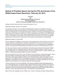 Speech of President Aquino during the 27th anniversary of the ...
