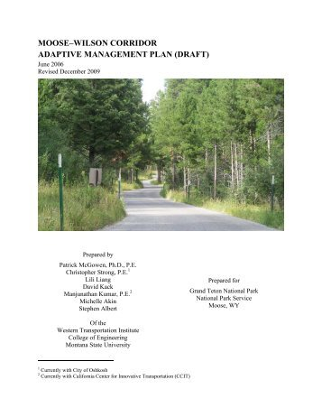 moose–wilson corridor adaptive management plan - National Park ...