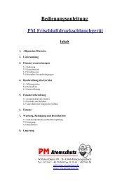 1. Allgemeine Hinweise - PM Atemschutz
