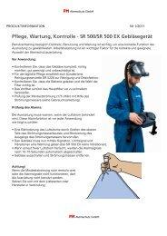 Pflege, Wartung, Kontrolle - SR 500/SR 500 EX ... - PM Atemschutz