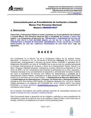 Proyecto de Modelo de Bases Licitación Pública - Pemex Gas y ...