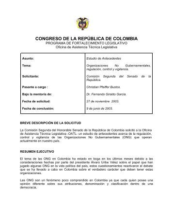 congreso de la república de colombia - Fundación Juan Felipe ...