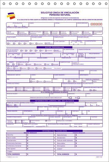 Formato de vinculaci n persona natural f 557 bancolombia Bod solicitud de chequera