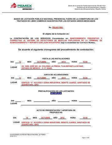 modelo de bases de licitación pública internacional ... - PEMEX.com