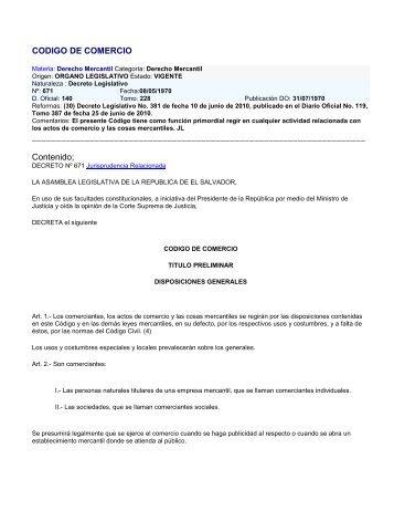 CODIGO DE COMERCIO Contenido;