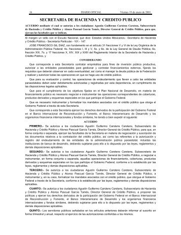 SECRETARIA DE HACIENDA Y CREDITO PUBLICO - Diario-o