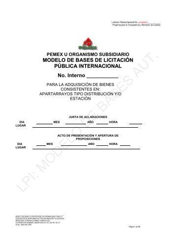 MODELO DE BASES DE LICITACIÓN PÚBLICA ... - PEMEX.com