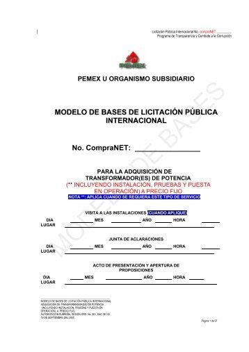 MODELO DE BASES DE LICITACIÓN PÚBLICA ... - Pemex