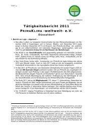 Tätigkeitsbericht 2011 PRIMAKLIMA -weltweit- e.V.