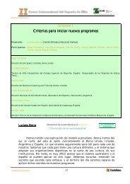 Criterios para iniciar nuevos programas Criterios para ... - Kirolak.net