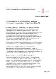 Richard Berg neuer Director Investor Relations ... - Prime Office AG