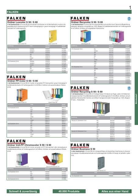 Ordner S80 Recycling,80mm breit,DIN A4 Wolkenmarmor,Rücken Farbe gelb Falken...