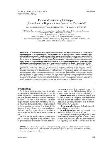 Plantas Medicinales y Fitoterapia - Latin American Journal of ...
