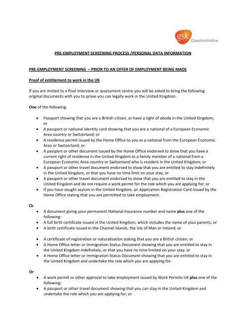 gsk pre employment screening process personal data information