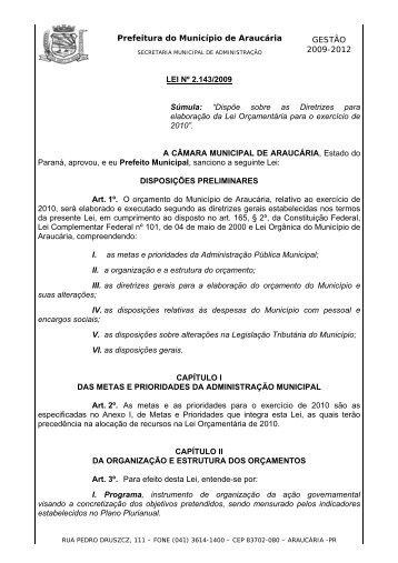 LDO 2010 - Prefeitura do Município de Araucária