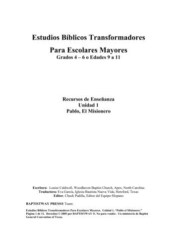 Estudios Bíblicos Transformadores Para ... - BaptistWay Press