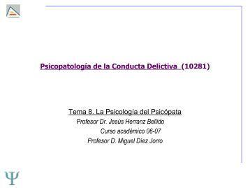 Tema 8. La Psicología del Psicópata - RUA