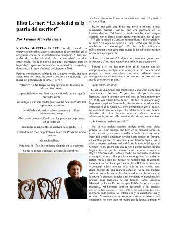"""Elisa Lerner: """"La soledad es la patria del escritor"""" - Gioconda Espina"""