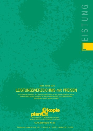Preisliste 2013 Web.indd - Plan & Kopie
