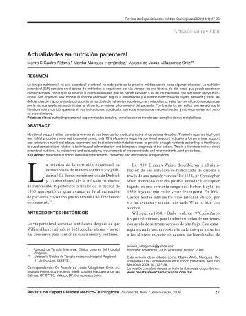 Artículo de revisión Actualidades en nutrición parenteral