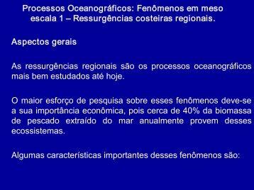 Processos Oceanográficos: Fenômenos em meso escala 1 ...