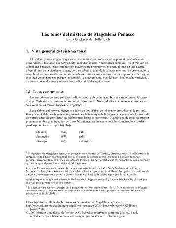 Los tonos del mixteco de Magdalena Peñasco - SIL International